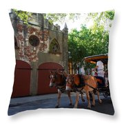 Horse Carriage At Kings Street Throw Pillow
