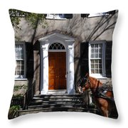 Horse Carriage In Charleston Throw Pillow