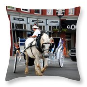 Horse Carriage In Nashville Throw Pillow