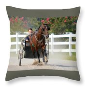 Horse Carriage Racing In Delmarva Throw Pillow