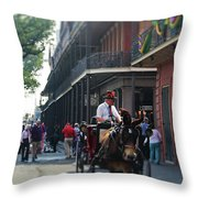 Horse Carriage Ride Throw Pillow