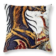 Horse Dances In Sea With Squid Throw Pillow