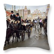 Horse Drawn Carriages And Women On Horseback Riding Sidesaddle O Throw Pillow