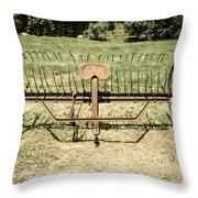 Horse Drawn Hay Rake Aged Throw Pillow
