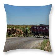 Horse Driven Throw Pillow