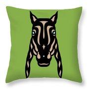 Horse Face Rick - Horse Pop Art - Greenery, Hazelnut, Island Paradise Blue Throw Pillow