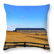Horse Farm - Rising Moon Throw Pillow