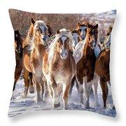 Horse Herd In Snow Throw Pillow