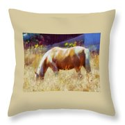 Horse In Field Throw Pillow