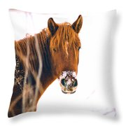 Horse In Winter Throw Pillow