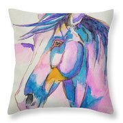 Horse In Pink  Throw Pillow