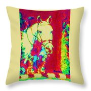 Horse Painting Jumper No Faults Psychedelic Throw Pillow