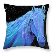 Horse-midnight Snow Throw Pillow