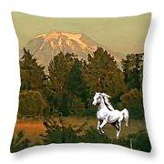 Horse Mountain And Barn Throw Pillow