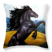 Horse Oil Painting Throw Pillow