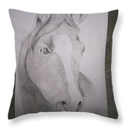 Horse On Paper  Throw Pillow