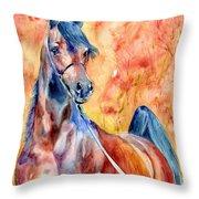 Horse On The Orange Background Throw Pillow