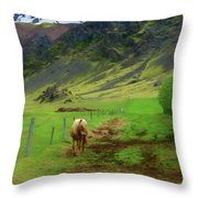Horse On The South Iceland Coast Throw Pillow