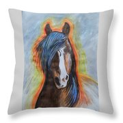 Horse Orange Throw Pillow