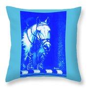 Horse Painting Jumper No Faults Aquamarine Throw Pillow