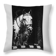 Horse Painting  Jumper No Faults Black And White Throw Pillow