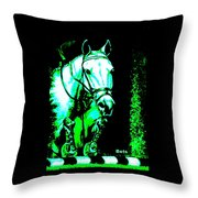 Horse Painting Jumper No Faults Black Blue And Green Throw Pillow