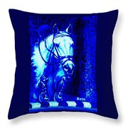 Horse Painting Jumper No Faults Blue Throw Pillow