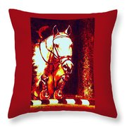 Horse Painting Jumper No Faults Deep Blues And Reds Throw Pillow