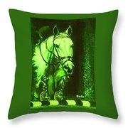 Horse Painting Jumper No Faults Deep Greens Throw Pillow
