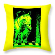 Horse Painting Jumper No Faults Green And Yellow Throw Pillow