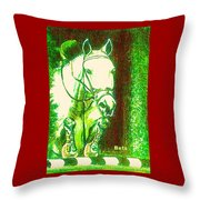 Horse Painting Jumper No Faults Green With Reds Throw Pillow