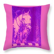 Horse Painting Jumper No Faults Hot Pink Throw Pillow