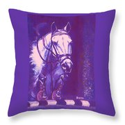 Horse Painting Jumper No Faults Lavender Throw Pillow