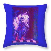 Horse Painting Jumper No Faults Purple And Blue Throw Pillow