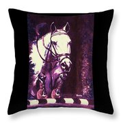 Horse Painting Jumper No Faults Purple Throw Pillow