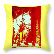 Horse Painting Jumper No Faults Red And White Throw Pillow