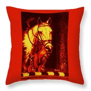 Horse Painting Jumper No Faults Reds Throw Pillow