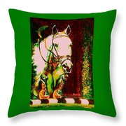 Horse Painting Jumper No Faults Reds Greens Throw Pillow