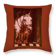Horse Painting Jumper No Faults Soft Browns Throw Pillow