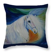 Horse Painting- Knight In Dream Throw Pillow