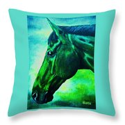 horse portrait PRINCETON blue green Throw Pillow