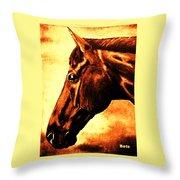 horse portrait PRINCETON brown tones Throw Pillow