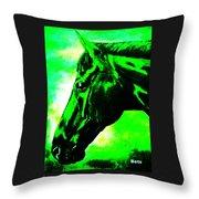 horse portrait PRINCETON green and black Throw Pillow