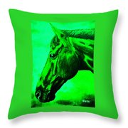 horse portrait PRINCETON green Throw Pillow