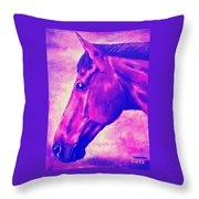 horse portrait PRINCETON pink Throw Pillow