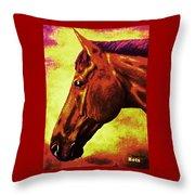 horse portrait PRINCETON purple brown yellow Throw Pillow