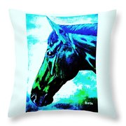 horse portrait PRINCETON really blue Throw Pillow