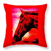 horse portrait PRINCETON red hot Throw Pillow