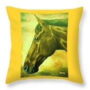 horse portrait PRINCETON soft colors Throw Pillow
