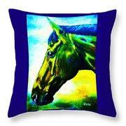 horse portrait PRINCETON vibrant yellow and blue Throw Pillow